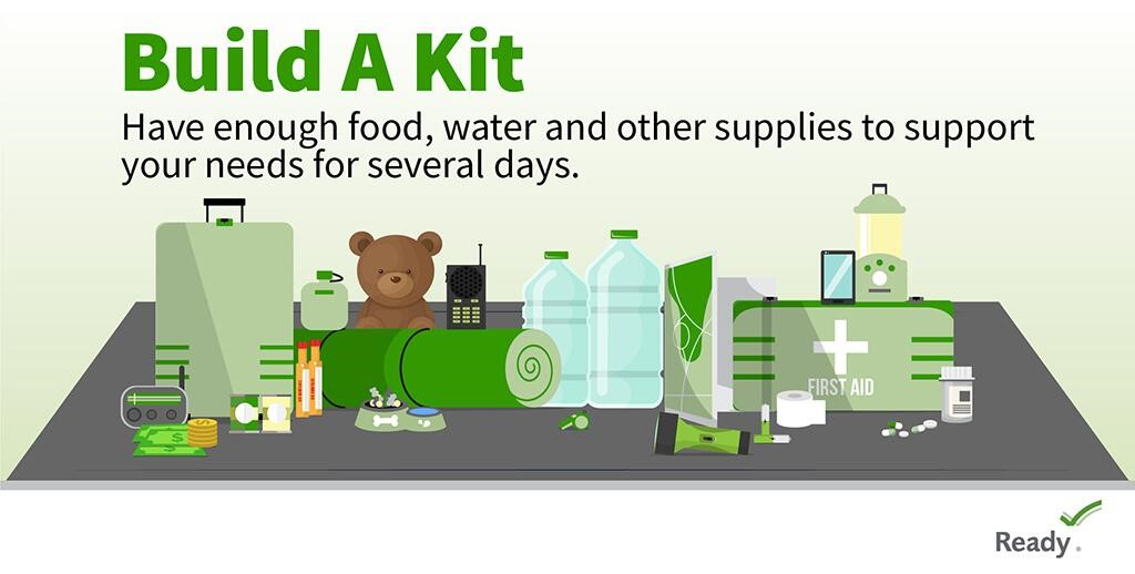 image of items to build a Kit to prepare for an hurricane