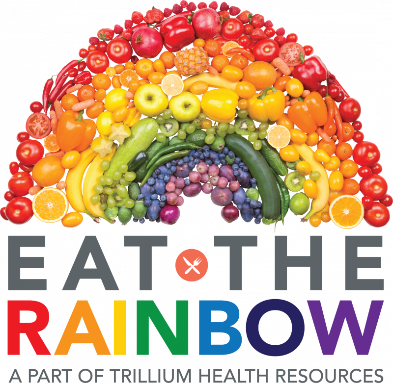 Rainbow of vegetable and fruits and the words Eat the Rainbow logo