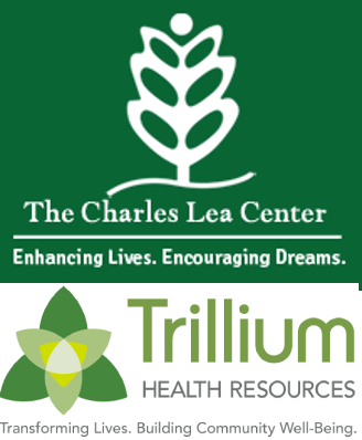 white branch in green background Charles Lea Center logo