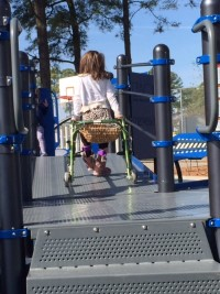 Girl walking playground