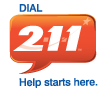 red speech bubble with the sign of dial 211 in white