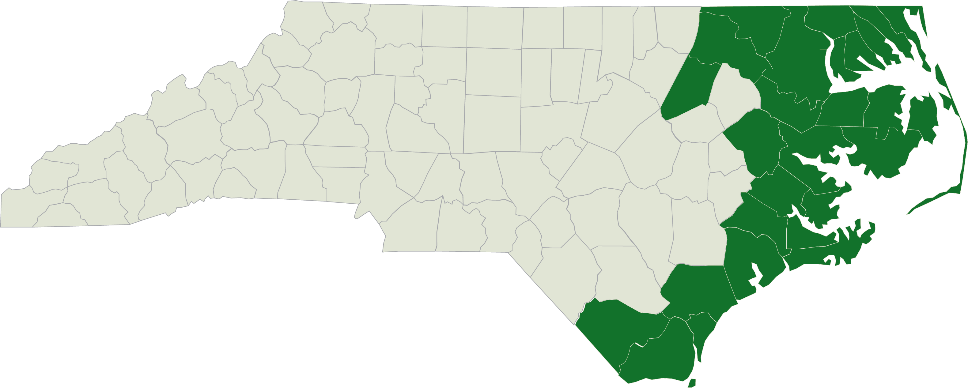 NC map with Trillium Catchment Area in green color