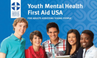 youth group looking at front, youth mental health First Aid logo