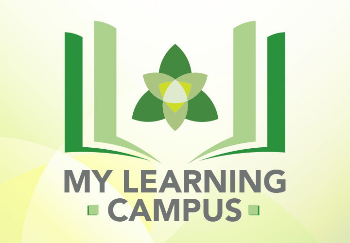 My Learning Campus Logo Book with Trillium logo in the midle
