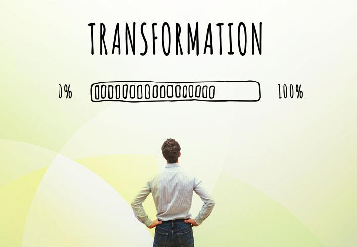 Man standing looking up transformation label