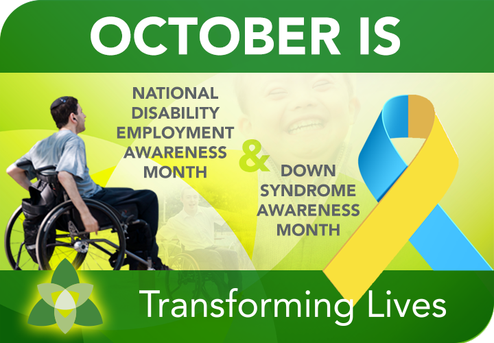 Awareness Month picture for employment disability and Down Syndrome